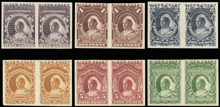 Niger Coast 1894 (1 Jan) provisional issue with 'OIL RIVERS' obliterated, the set of 6 to 1s, PROOF SG45/50