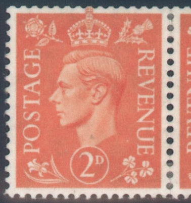 Great Britain 1942 2d. Pale Orange Tete-Beche Pair, Mint SG488b