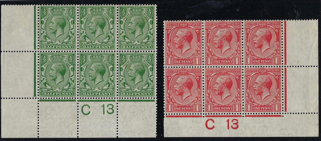 Great Britain 1913 ½ d Bright green & 1d dull scarlet. SG397/8
