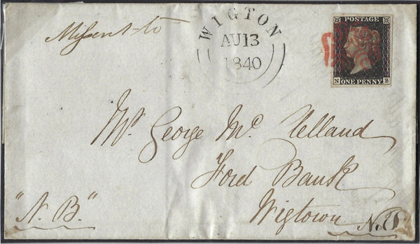 Great Britain 1840 1d Black Plate 1b. SG2