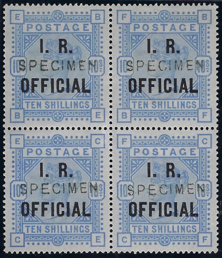 Great Britain 1885 10s Ultramarine on blued paper (I.R. Official). SG O9d