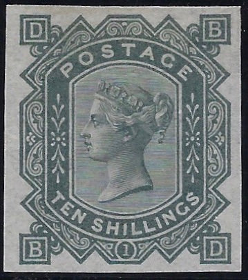 Great Britain 1878 10s Greenish grey Plate 1. SG123var