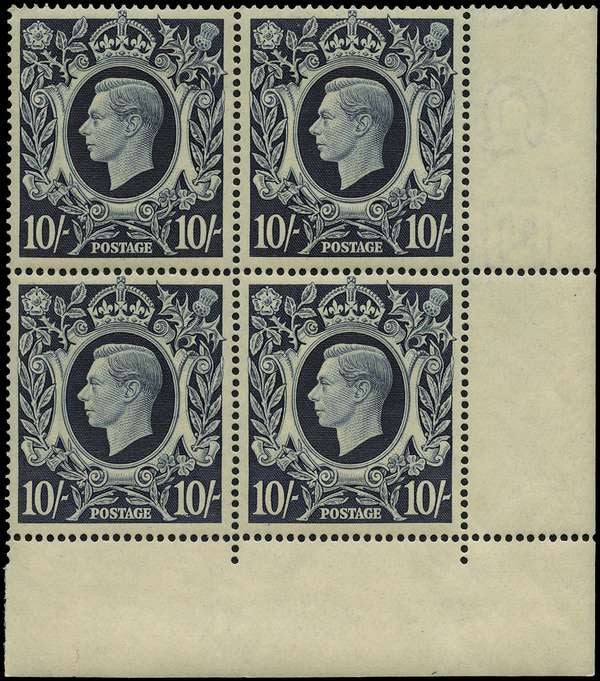 Great Britain 1939-48 10s dark blue, SG478