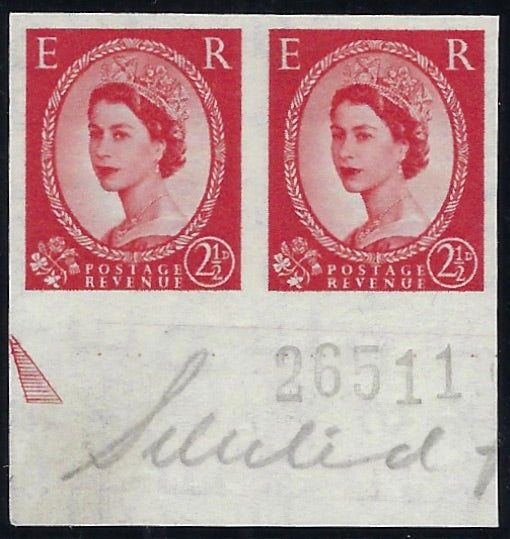 Great Britain 1956 2½d Carmine-red 'Wildings' (Watermark St Edwards Crown Sideways) SG544var