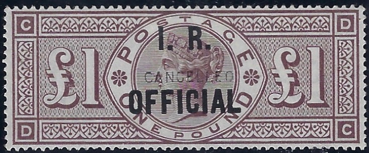 Great Britain 1890 £1 Brown-lilac (I.R. Official, watermark orbs).  SG O12var