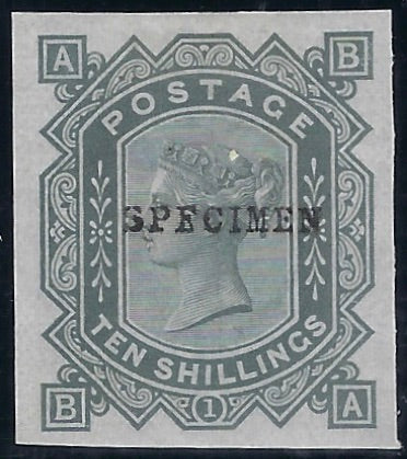 Great Britain 1883 10s Grey green Plate 1 (Watermark Anchor, blued paper) SG131var PL1