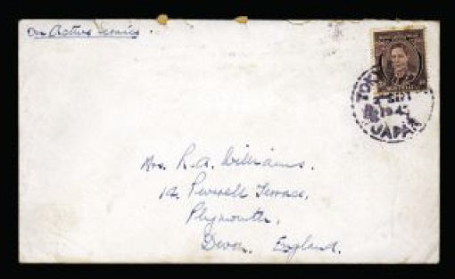 Australia British Commonwealth Occupation Force cover to Devon franked with Australia 1937-49 3d brown tied by violet-black 'TOKYO (BA)Y JAPAN' circular date stamp.