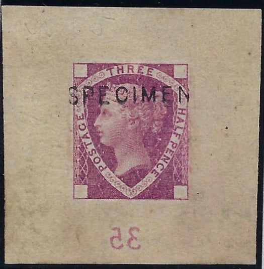 Great Britain 1878 1 ½ Die proof for lighter and more fugitive colours. SG DP57