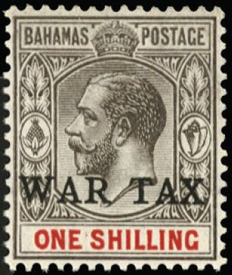 Bahamas 1918 'WAR TAX' 1s grey-black and carmine SG95