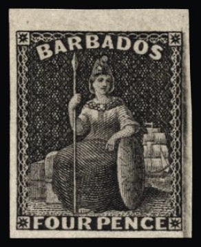Barbados 1874 Britannia 4d imperforate plate proof in black on wove SG68