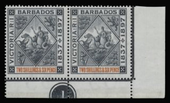 Barbados 1897-98 Jubilee 2s6d blue-black and orange SG124