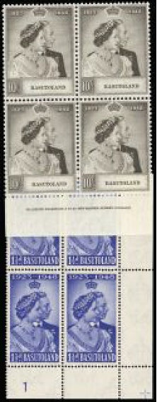 Basutoland 1948 Royal Silver Wedding set in blocks of 4 SG36/7