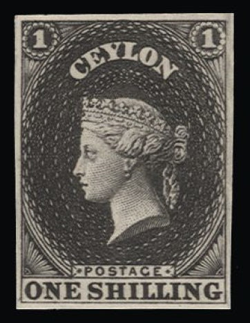 Ceylon 1857-59 1s imperforate plate proof in black on wove. SG10
