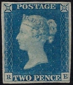 Great Britain 1840 2d Blue Plate 1, SG5 Plate 1