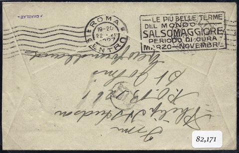 Newfoundland 1927 (May 20) flown cover from St Johns to Italy. SG163