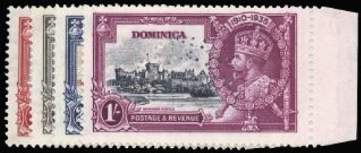 Dominica 1935 Silver Jubilee set of 4 to 1s SG92s/5s