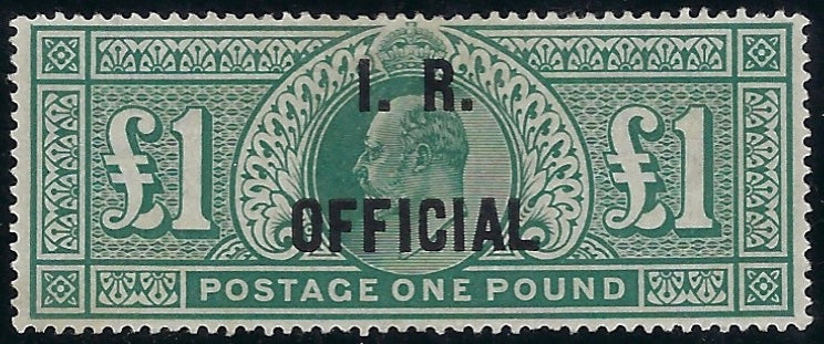 Great Britain 1902 £1 Dull blue green (I.R. Official). SG O27