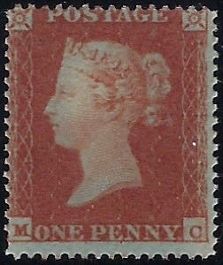 Great Britain 1850 1d Red brown Plate 98 (Archer trial perforation). SG16b PL98