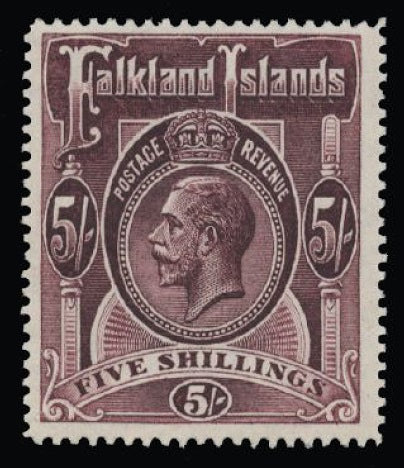 Falkland Islands 1912-20 5s maroon SG67b