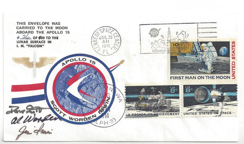 Apollo 15 signed postal cover smuggled to the Moon