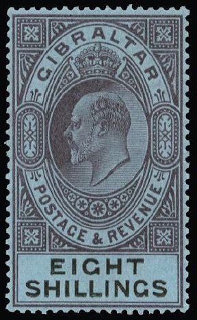 Gibraltar 1903 8s dull purple and black/blue SG54
