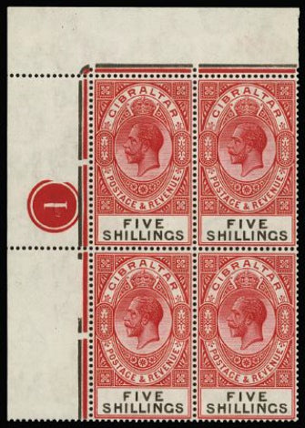 Gibraltar 1925-32 5s carmine and black SG105