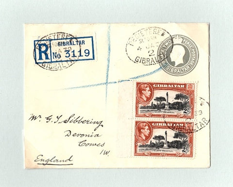Gibraltar 1939 King George V 2d grey on cream P/S envelope SG128