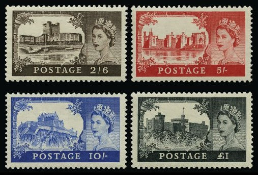 "Great Britain 1955 2s6d-£1 ""Castles"" (Waterlow printing) SG536/9"