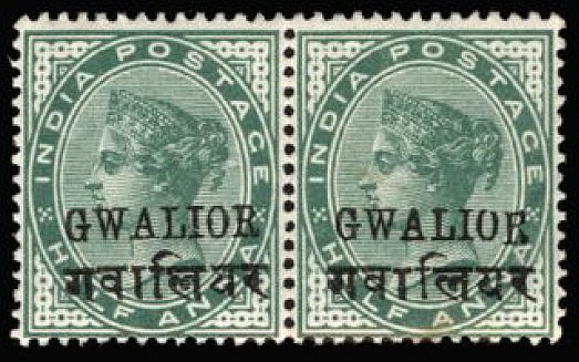 I.C.S. Gwalior 1899-1911 QV ½a yellow-green SG40g/ge