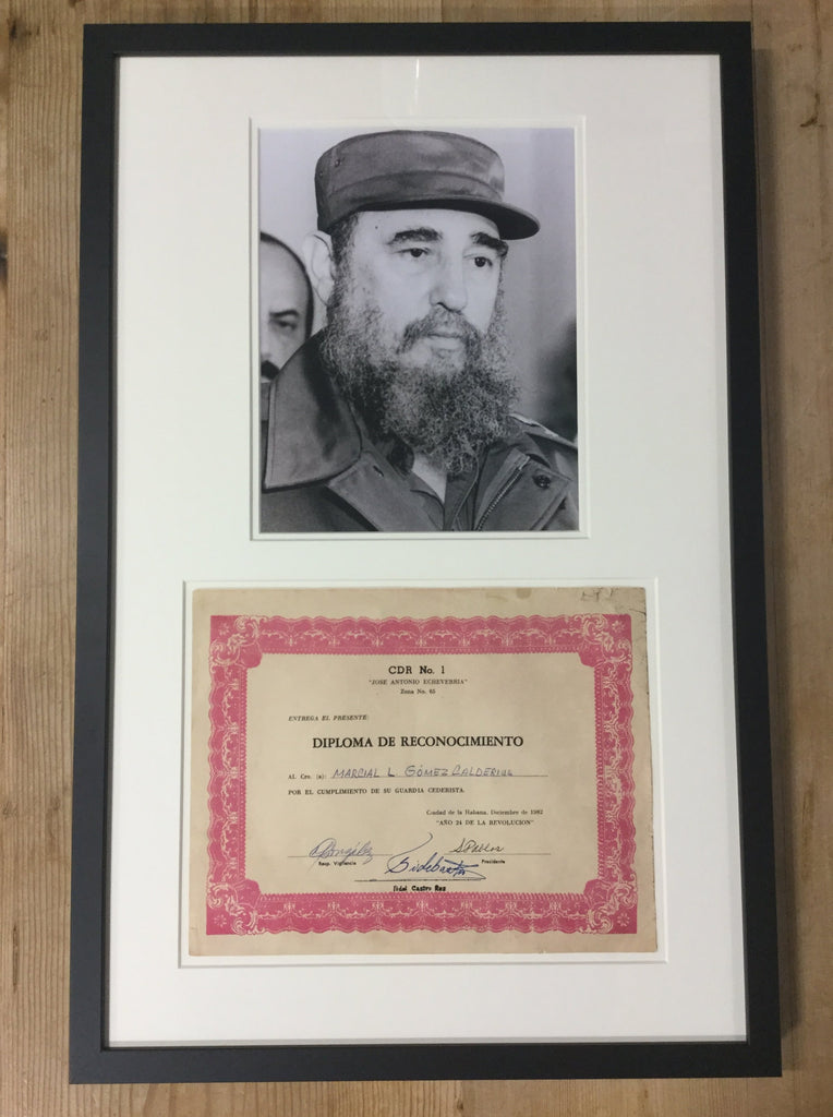 Fidel Castro signed certificate of recognition