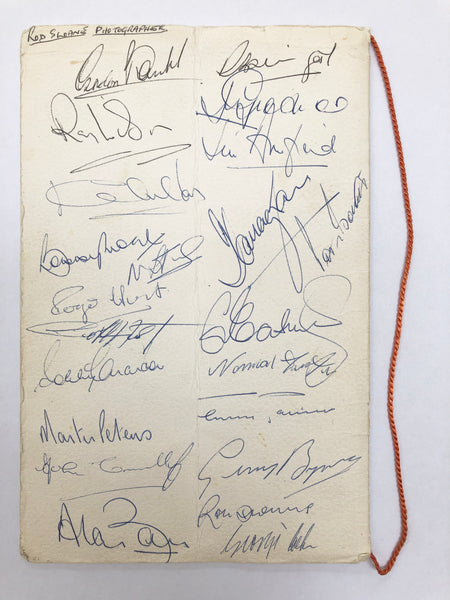 1966 England World Cup Squad Autographed Menu
