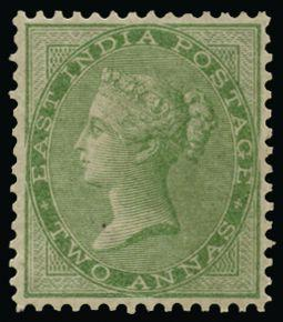India 1856-64 2a yellow-green SG50