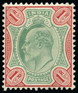 India 1902-11 1r green and scarlet SG137