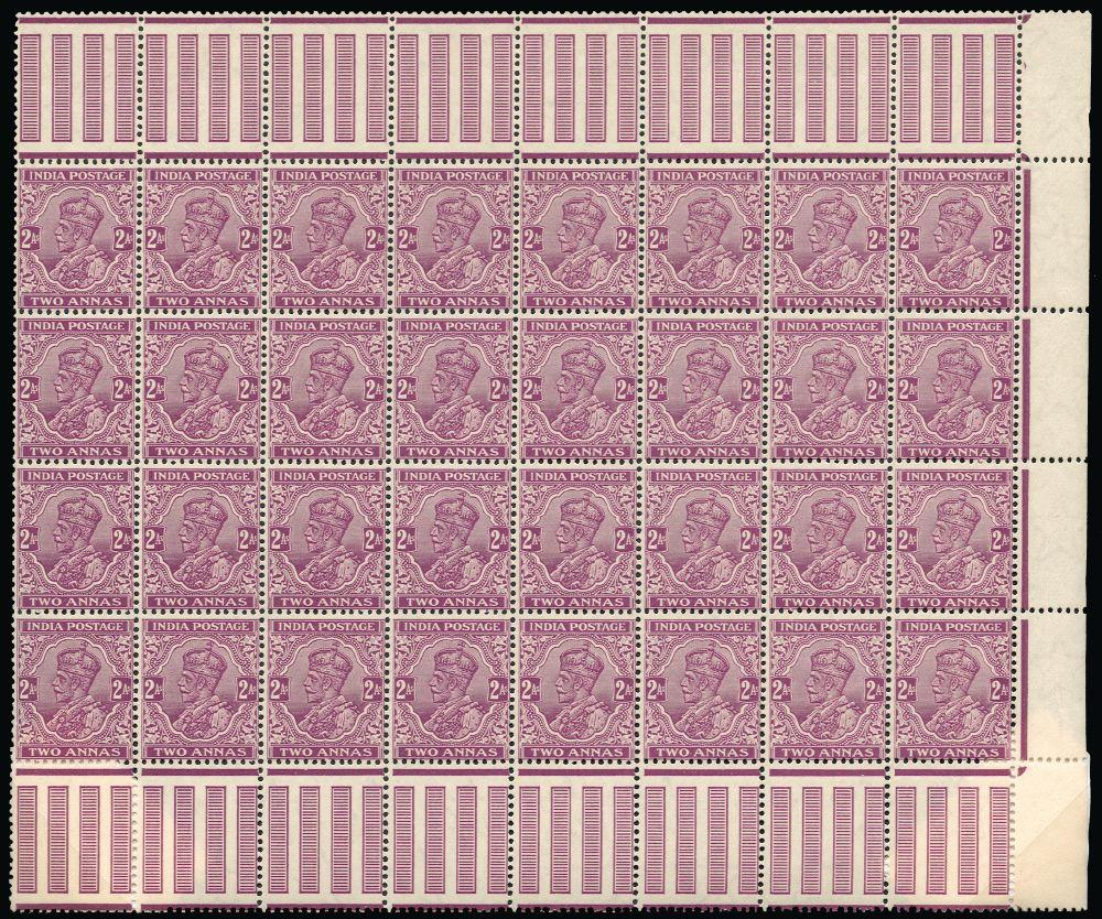 India 1926 Watermark multiple stars 2a bright purple 'INDIA POSTAGE' (type 59) SG205