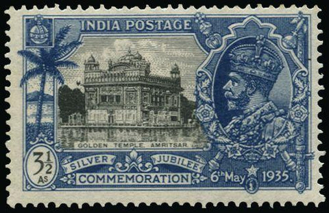 India 1935 Silver Jubilee 3½a black and dull ultramarine SG245a