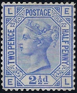 Great Britain 1881 2½d Blue Plate 22. SG157var PL22