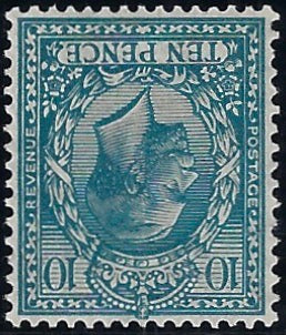 Great Britain 1924 10d Turquoise-blue (Watermark Inverted). SG428wi