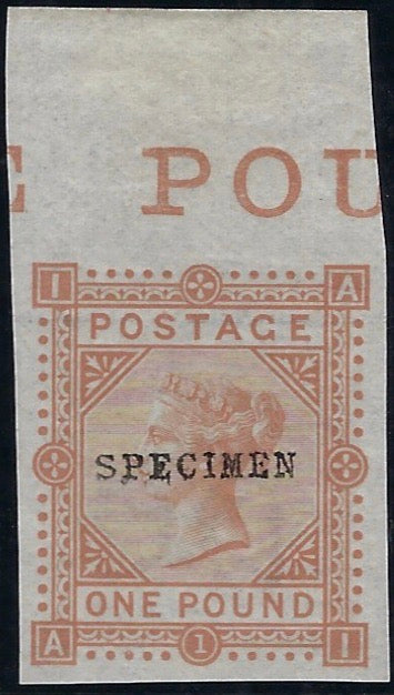 Great Britain 1878 £1 Colour trial Plate 1. SG129var PL1