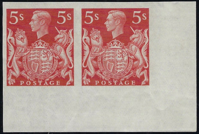Great Britain 1939 5s Red 'Arms' High Value. SG 477var
