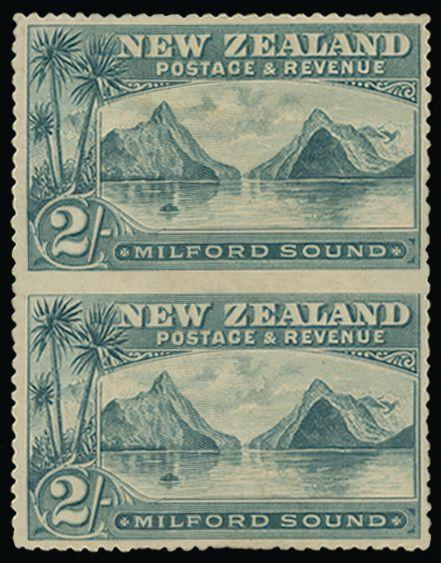 "New Zealand 1898 (5 Apr) 2s grey-green ""Milford Sound"" SG258a"