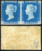 Great Britain 1840 2d Blue (KC/KD) MINT pair with watermark inverted.