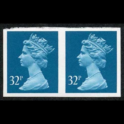 Great Britain 1988 32p greenish blue imperforate pair SGX983a