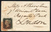 1840 Penny Black (GB) Plate 3 SUPERB four margin Tiny Envelope Contrary to Regulations