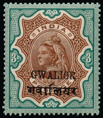 I.C.S. Gwalior Mint 1899-1911 Queen Victoria 3r brown and green SG44