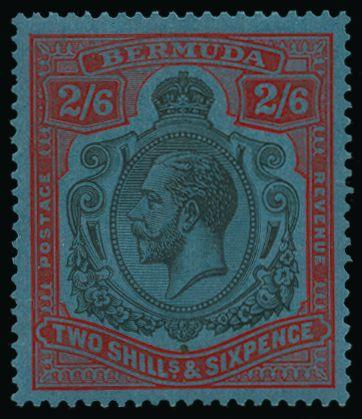 Bermuda 1924-32 Script watermark 2s6d grey-black and pale orange-vermilion/grey-blue SG89h