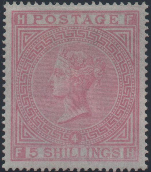 Great Britain 1882 5s. Rose (Plate 4), Mint SG130