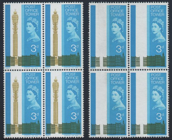 Great Britain 1965 3d. Olive-yellow (Tower) omitted, Unmounted Mint SG679a