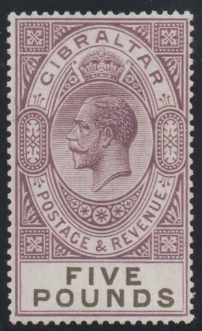 Gibraltar 1925 £5 violet and black, Unmounted Mint SG108