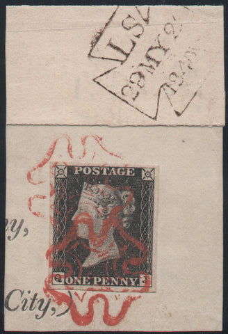 Great Britain 1840 1d intense black, Used SG1
