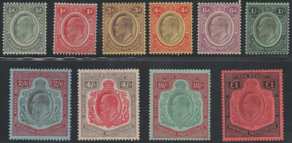 Nyasaland 1908-11 set of 10, Mint SG72-81